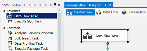 Drag and drop the Data Flow Task to the design pane