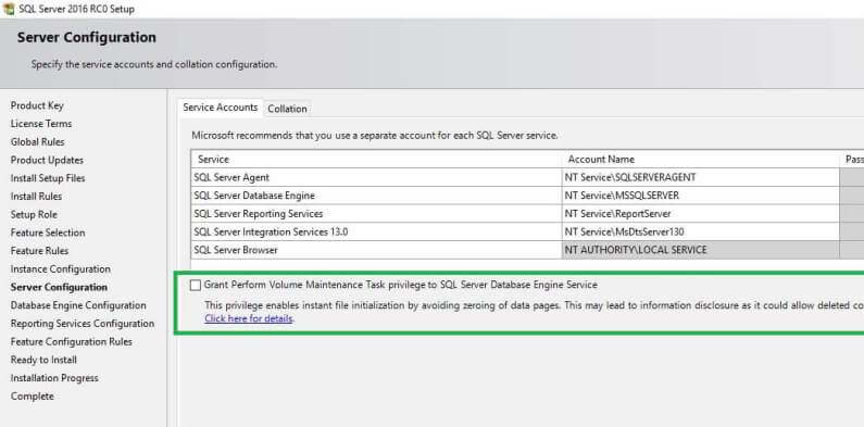 SQL Server 2016 Grant Perform Volume Maintenance Task privilege to SQL Server Database Engine Service