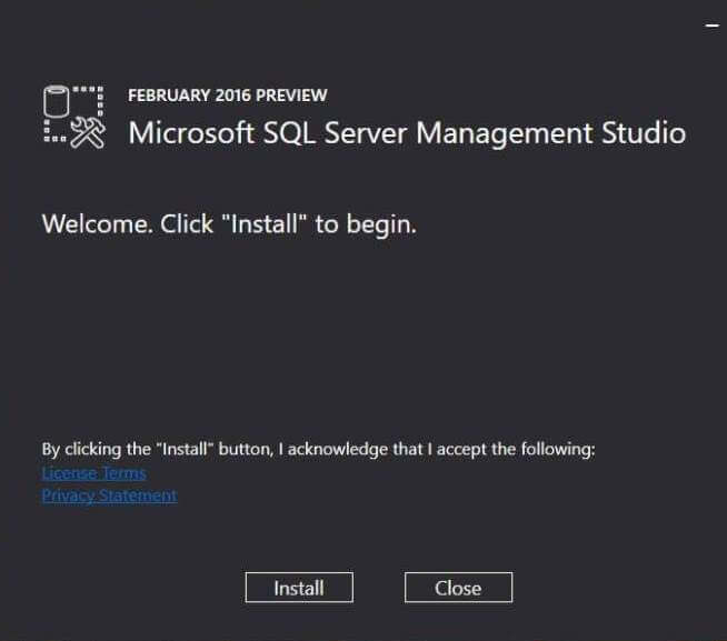 SQL Server 2016 Microsoft SQL Server Management Studio Installation