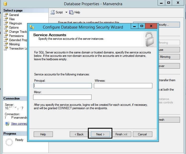 Specify the SQL Server Database Mirroring Service Accounts