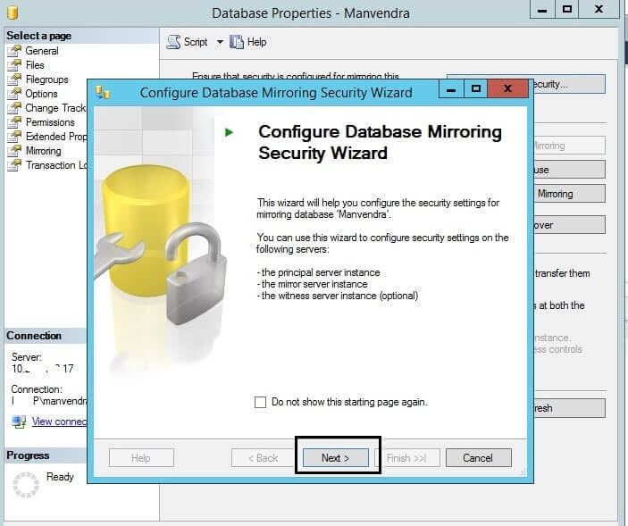 Configure Database Mirroring Security Wizard