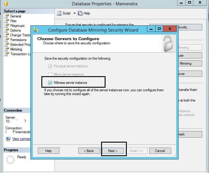 Select witness server instance in SQL Server Database Mirroring