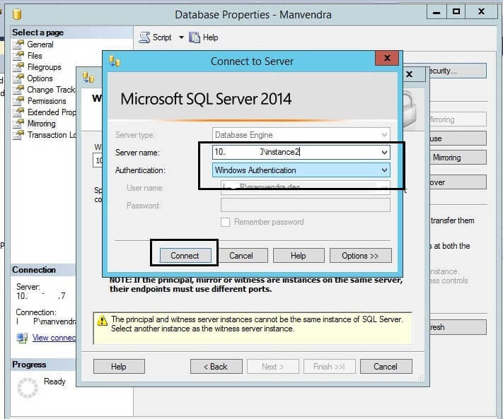 Connect to the witness server instance for SQL Server Database Mirroring