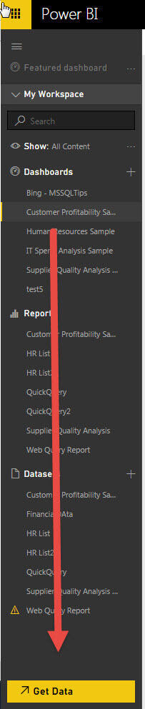 To use the Power BI Content Pack, click on the Get Data option at the bottom of the Power BI navigation pane
