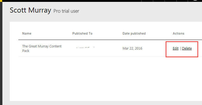 Manage the Power BI Content Pack