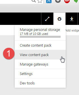 View Power BI Content Pack