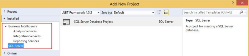 Creating a New Project in the SQL Server Data Tools