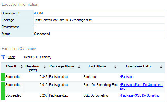 Control flow parts execution from the SQL Server 2014 SSIS Catalog