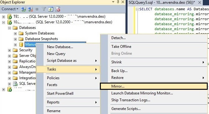Launch the SQL Server Database Mirroring configuration Page