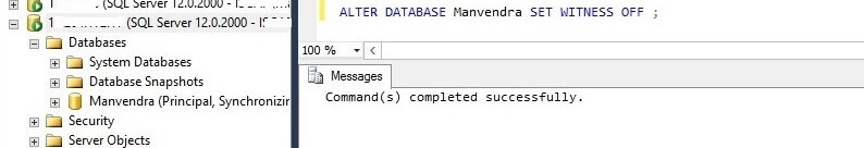 Remove witness using t-sql in SQL Server Database Mirroring