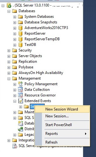 Start a new SQL Server 2016 Extended Events session