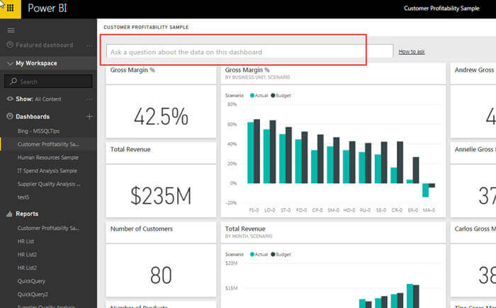 Q & A screen in Power BI