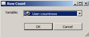 Assign the Row Count to the User::Countrows variable