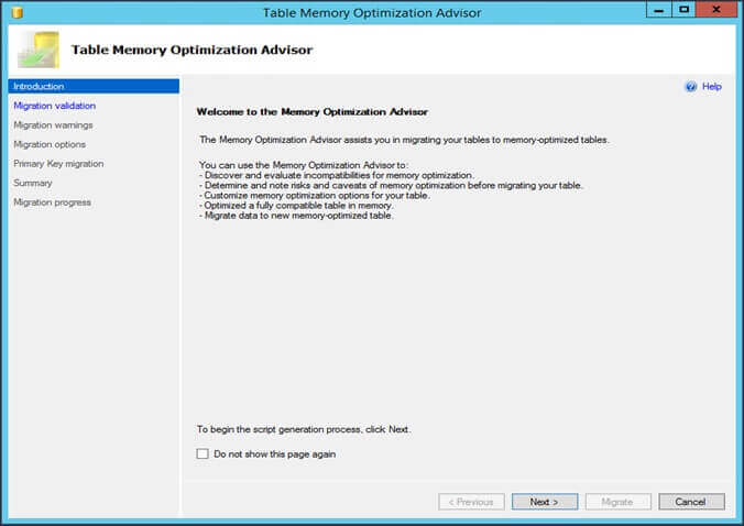 how to create in memory database in sql server