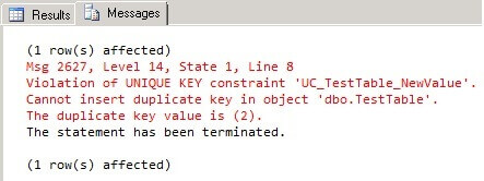 Duplicate key violation