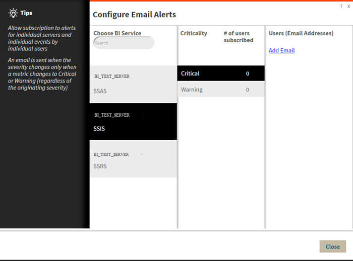 Confiure Email in SQL BI Manager