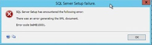 SQL Server Setup has encountered the following error: There was an error generating the XML document. Error code 0x84B10001.