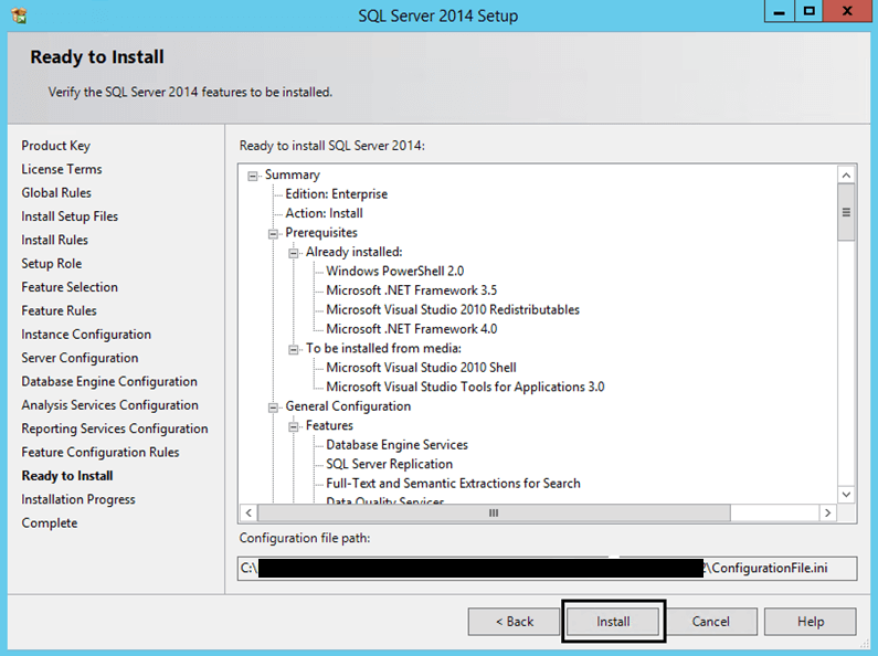 Ready to Install for SQL Server 2014 Setup
