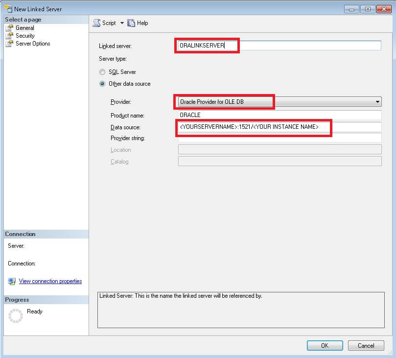 Automate Oracle Table Space Report using SQL Server