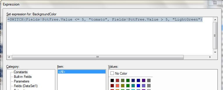 Expression Window with the Conditional Logic for the PctFree field color