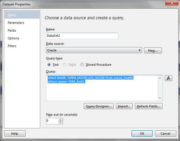 Query for the Oracle_Health data