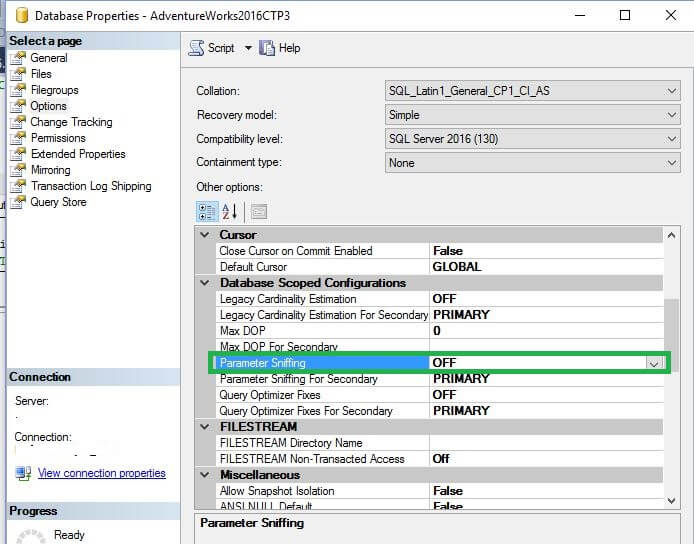 Turn off parameter sniffing at the database level with SQL Server Management Studio