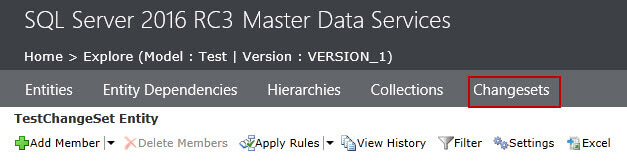 Change sets menu in SQL Server Master Data Services