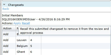 Recall change set in SQL Server Master Data Services