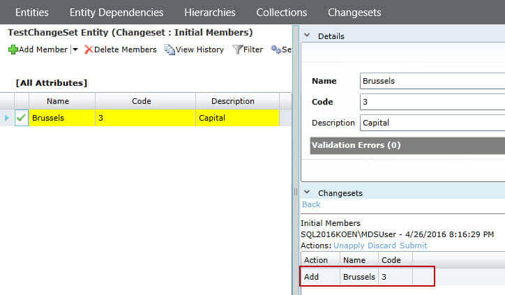 Changes are indicated in yellow in SQL Server Master Data Services