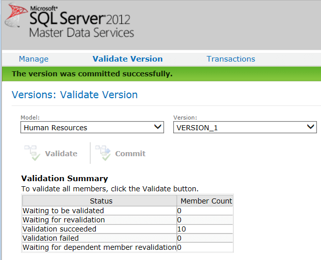 Successful Commit of SQL Server Master Data Services Model