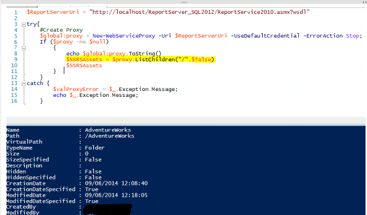 Accessing SQL Server Reporting Services Data Using PowerShell