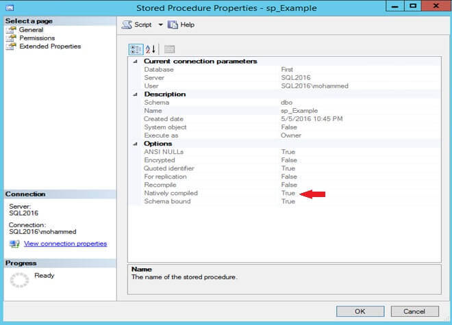 Determine if a Stored Procedure is Natively Compiled in SQL Server Management Studio