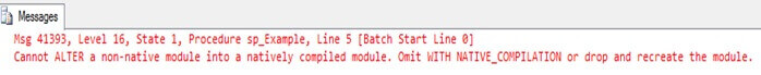 Unable to ALTER a stored procedure from non native to native mode