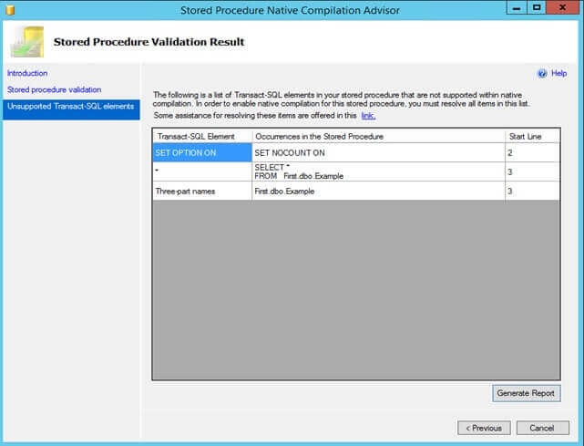 Unsupported Features in the SQL Server Stored Procedure Native Compilation Advisor