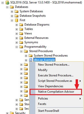 Launch the Native Compilation Advisor in SQL Server Management Studio