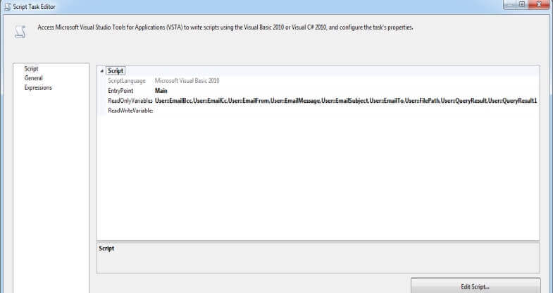 SQL Server Integration Services Script Task Editor Read Only Variables