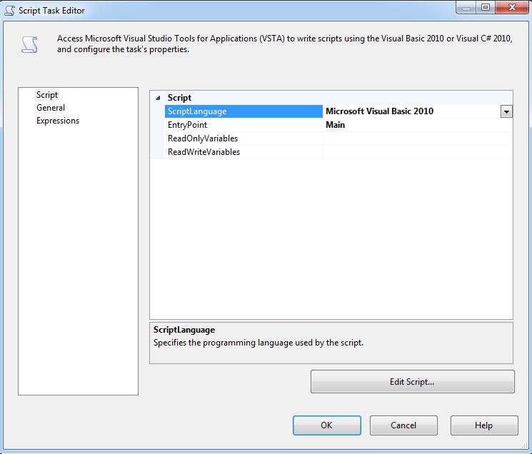 Sql server integration services script task editor