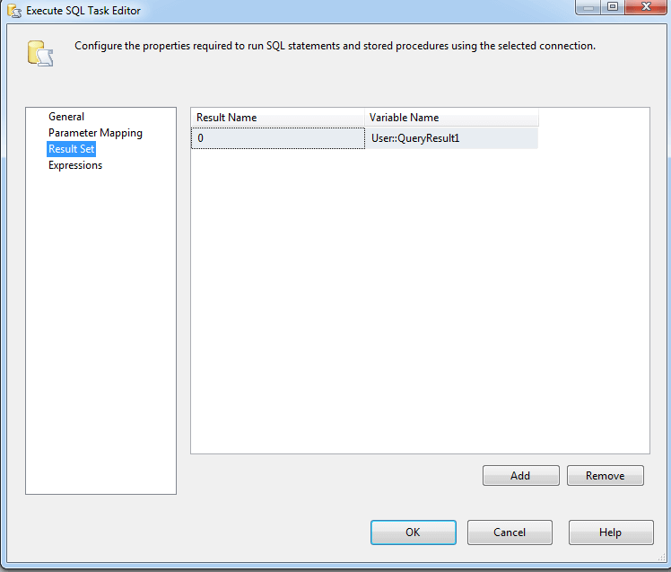SQL Server Integration Services Execute SQL Task Editor Result Set Mapping