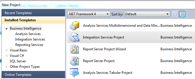 Start a New Project in the SQL Server Data Tools