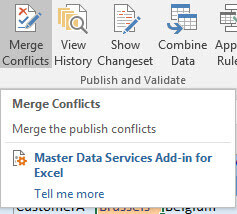Merge conflict button in Excel Add-in for SQL Server Master Data Services