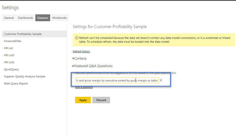 Add Question to the Featured Q&A Questions in Power BI