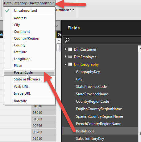 Set the Data Category for Postal Code to Postal Code in Power BI Q&A