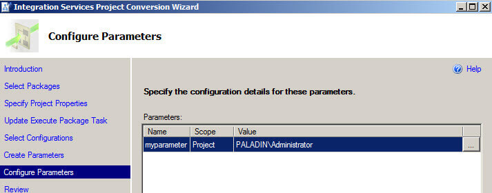 Configure parameters in the Integration Services Project Conversion Wizard
