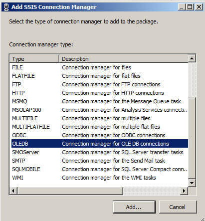 Add Connection Manager in SQL Server Integration Services
