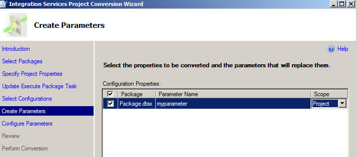 Create parameters in the Integration Services Project Conversion Wizard
