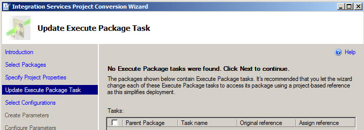 Update Exeute packages Task in the Integration Services Project Conversion Wizard