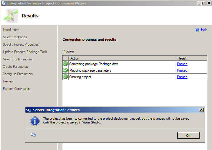 Results in the Integration Services Project Conversion Wizard