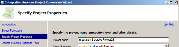 Specifying projects in the Integration Services Project Conversion Wizard