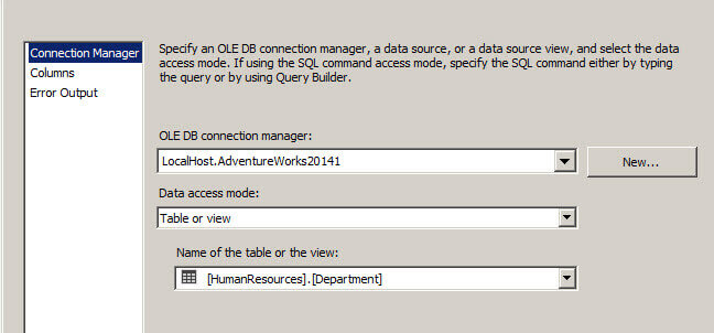 Connection to adventureworks in SQL Server Integration Services