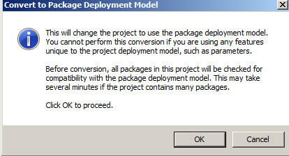 Convert to Package compatibility message in SQL Server Integration Services